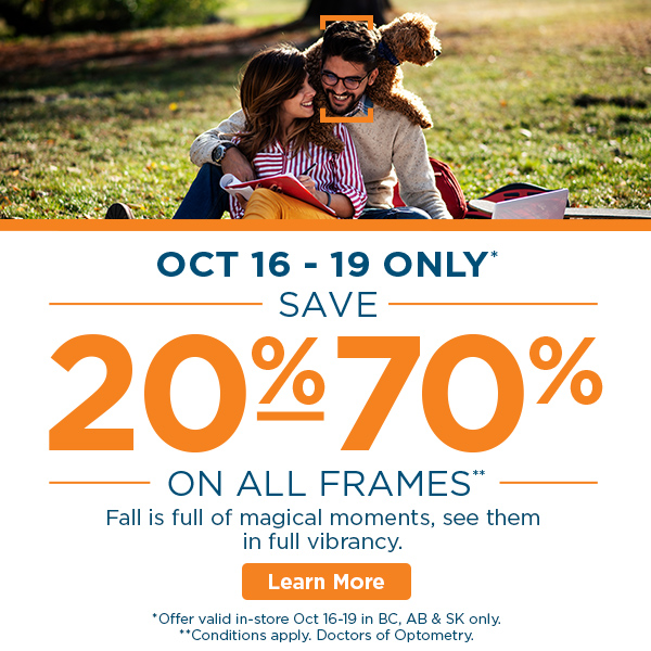 All in-stock eyeglass frames at FYidoctors clinic locations discounted between 20-70% off. October 16-19 in BC, AB & SK only.