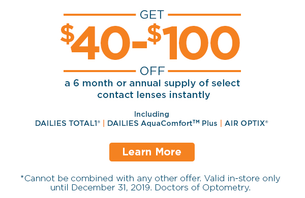 Alcon Contact Lenses sale. Total1 ® and AquaComfort™ Plus Dailies and Air Optix ® Monthlies. In-store Discounts at all FYidoctors Clinic Locations.