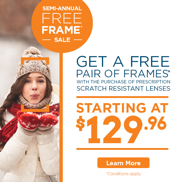 Free Frame Sale - winter image with woman in glasses - FYidoctors