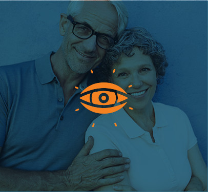 seniors couple posing for photo - eye care image